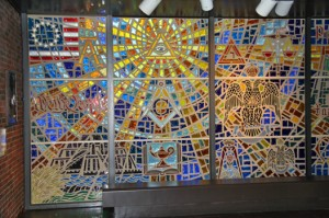 Stained glass window at the Museum